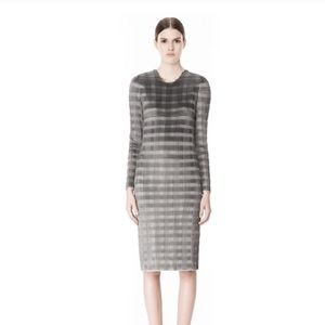 ALEXANDER WANG plisse pleated dark grey dress midi